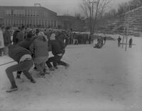 Tug of War during Snow Week at Mankato State College, 1963-02-23.