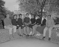 A group of Mankato State College students at Old Main, 1961-09-27.