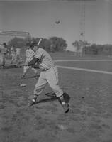 Jim Lange batting, Mankato State College baseball team, 1961-10-09.