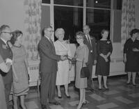 President C. L. Crawford shaking hands with a freshman at Freshman Reception, 1961-10-11.