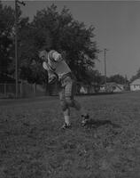 Mankato State College Football player, Con Shirley, posing, 1961-09-27.