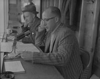 KYSM's sportscaster broadcasting Football game against N. Dakota State at Mankato State College, 1961-11-13.