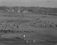 MSC Marching band in formation at Dad's Day Football game at Mankato State College, 1961-01-28.
