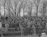 Football fans at Dad's Day game at Mankato State College, 1961-12-05.