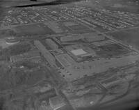 Aerial shot of Upper Campus at Mankato State College, 1961-11-08.