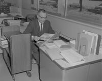 Mr. Frayne Anderson, a serials librarian initiating a new serial system at Mankato State College, 1962-01-03.