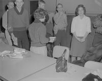 An informal group of Math Club members at Mankato State College, 1962-01-12.