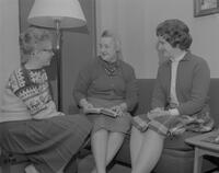 Dorm Mother Mrs. Kathryn Crilley with students, 1962-01-15.