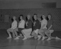 1962 Cheerleader tryouts at Mankato State College, 1962-05-03.