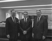Dr. Cummiskey, Dr. Wissink, and Finn J. Larsen at Mankato State College, 1962-06-04.