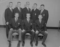 Officers for the '61-'62 year in the Delta Sigma Pi Business Fraternity at Mankato State College, 1962-05-17.