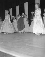 Beauty pageant winner being crowned at Mankato State College, 1962-06-04.