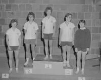 Winners in the girls track intramurals competition by the Mankato State College Physical Education Department, 1962-05-25.