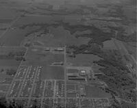 An aerial photograph of the Highland Campus at Mankato State College, 1962-08-24.