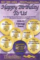 2018-2019 Season, Happy Birthday to Us!, Promotional Poster. Theatre and Dance Department. Minnesota State University, Mankato.