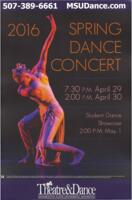 2016-04-29, Spring Dance Concert, Promotional Poster. Theatre and Dance Department. Minnesota State University, Mankato.
