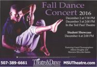 2016-12-02, Fall Dance Concert, Promotional Poster. Theatre and Dance Department. Minnesota State University, Mankato.