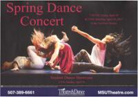 2017-04-28, Spring Dance Concert, Promotional Poster. Theatre and Dance Department. Minnesota State University, Mankato.