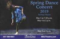 2019-05-03, Spring Dance Concert 2019, Promotional Poster. Theatre and Dance Department. Minnesota State University, Mankato.