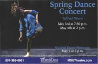 2019-05-03, Spring Dance Concert, Promotional Poster. Theatre and Dance Department. Minnesota State University, Mankato.