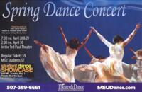 2016-04-28, Spring Dance Concert, Promotional Poster. Theatre and Dance Department. Minnesota State University, Mankato.