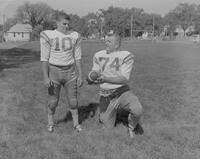 Mankato State College Football Team members, Roger Meyer and Joe Giamonni, 1962-09-13.