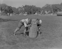 Mankato State College Football Team members, Roger Meyer and Dick Hanson, 1962-09-13.