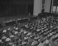 A speaker at Mankato State College, 1962-09-24.