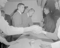 Students getting snacks, Mankato State College, 1963-02-23.