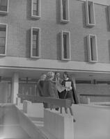 A group of Mankato State College Students in front of Armstrong Hall, 1964-10-27.