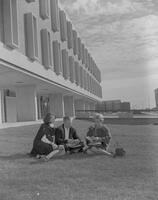 A group of Mankato State College Students in front of Armstrong Hall, 1964-10-28.