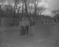 Reisdorf, Roepke, and Coach Meyers at Mankato State College, 1963-05-07.
