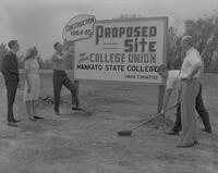 Sign for proposed site of the Student Union, Mankato State College, 1963-05-01.