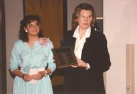 Mankato State University President Margaret R. Preska  (right) at the Retirement Banquet in Mankato State University, 1990-05-29.