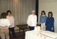 Five women celebrating Anita's retirement, Centennial Student Union at Mankato State University. 04-03-1989.