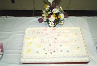 Anita Stone's retirement cake, Centennial Student Union at Mankato State University. 04-03-1989.