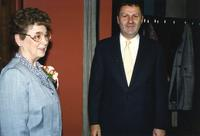 Man and woman are celebrating Anita Stone's retirement, Centennial Student Union at Mankato State University. 04-03-1989.