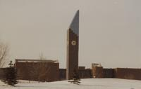 The Ostrander Student Memorial Bell Tower and Trafton Science Center at Mankato State University, 1989-12.