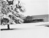 A winter picture of the Mankato State University Wiecking Center building, 1980s.