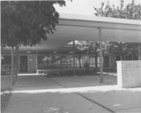 A picture of the Mankato State University Wiecking Center building courtyard, 1980s.