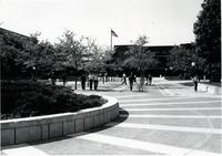 View of the Campus Mall, Armstrong Hall to the left and Wigley Administration Center directly ahead at Mankato State University.