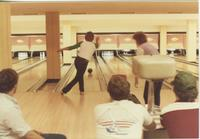 Four men and one woman bowling in the Centennial Student Union bowling alley. Mankato State University