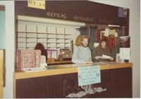 A picture of Mankato State University students working at the MSU Rental Resource Center, 1980s.