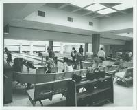 A picture of Mankato State University students bowling in the Centennial Student Union bowling alley, 1970s.