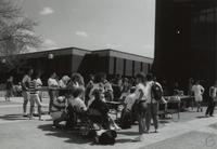 Students surrounding the campus mall at Mankato State University, 1989.