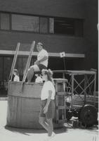 A man participating as a volunteer for the Dunk tank fundraiser at Mankato State University, 1989.