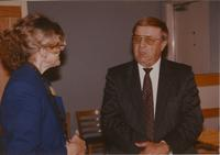 Dr. Margaret R. Preska with her peer at a reception near Mankato State University, 1990-10-08.
