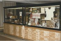 A picture of two display cases in the Mankato State University Centennial Student Union, 1980s.