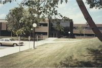 A picture of the Mankato State University Morris Hall academic building, 1980s.
