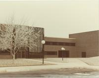 A picture of the Mankato State University Morris Hall academic building during winter time, 1980s.